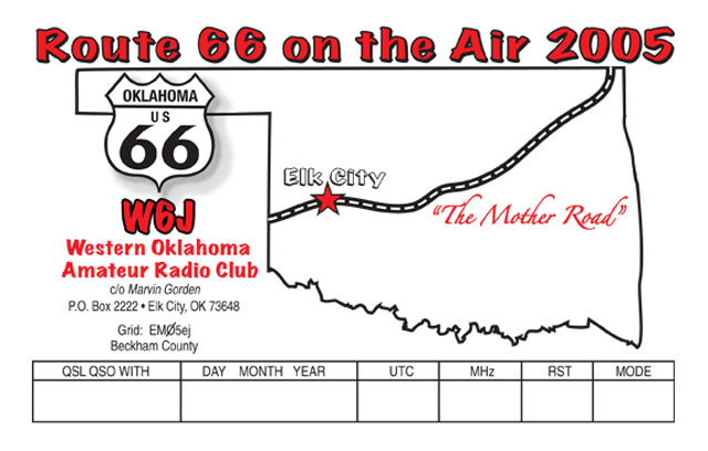 w6j 2005 route 66 special event qsl information